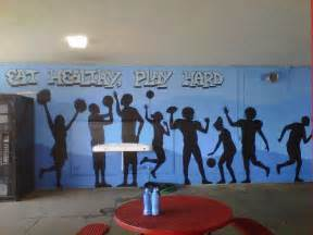 Wall Murals For Schools School Cafeteria Murals Play Hard A Healthy