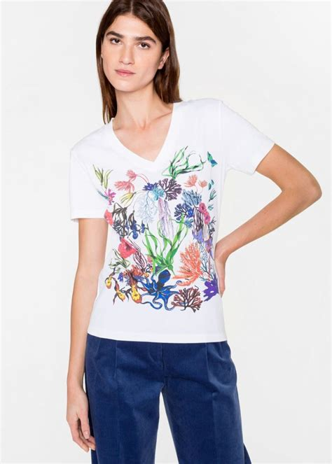 White Flower Shirt Size S M L t shirts white paul smith floral print cotton t shirt womens white daniel herran