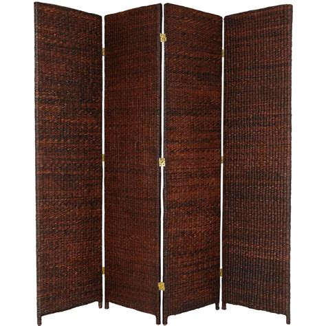 6 ft dark brown 4 panel room divider fbrushscr4pdbrn