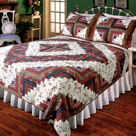 Log Cabin Patchwork Quilt - ruby log cabin patchwork quilt bedding