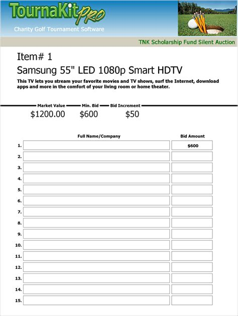 search results for silent auction bid sheets microsoft