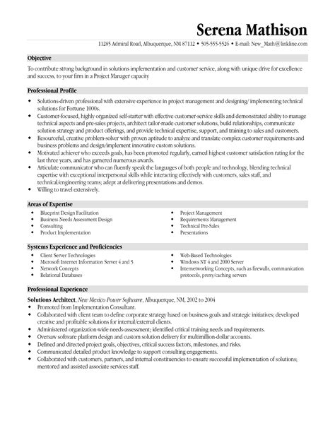 sle resumes for management 28 images project manager