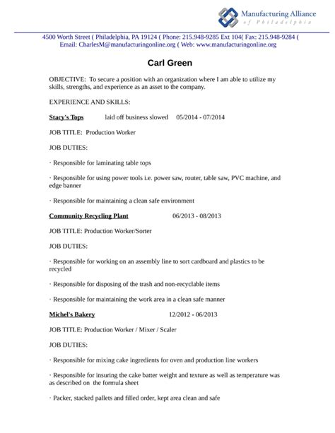 Resume Sle In Production Worker Professional Production Worker Resume Template