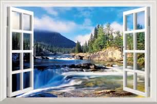 Forest Scene Wall Mural diy window scenery outside fake windows sticker 70 46cm
