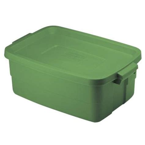 rubbermaid 10 gal roughneck storage tote in green 1823616