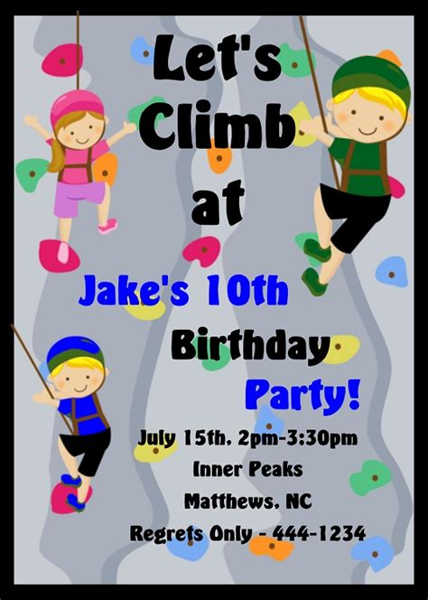 Rock Climbing Sports Birthday Invitations For Girls Or Boys Printable Or Printed Rock Birthday Invitation Templates