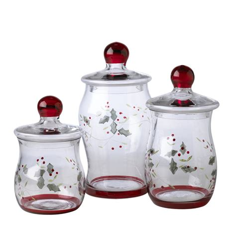 pfaltzgraff winterberry small glass canisters set of 3
