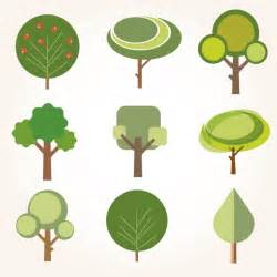 design pic collection of trees in flat design vector free download