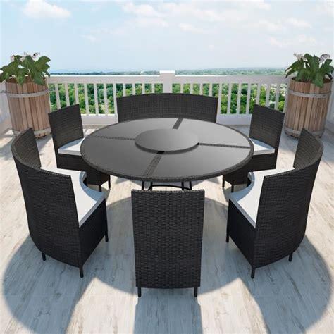 chaise de bureau ronde salon de jardin noir en polyrotin table ronde et chaises