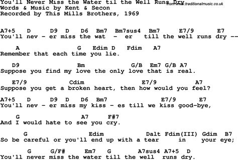 song lyrics with guitar chords for you ll never miss the