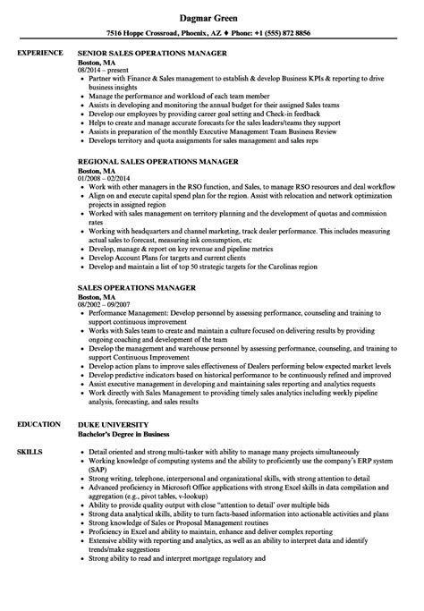 Financial Operations Manager Sle Resume by Sales Operations Manager Resume Sles Velvet