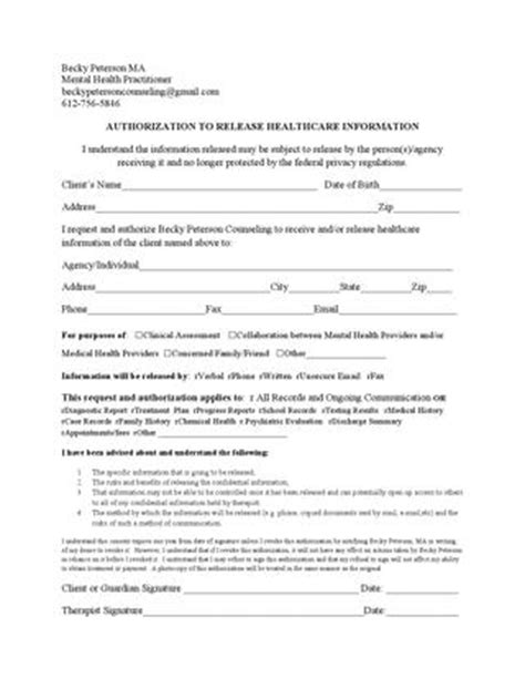 counseling release of information form template release of information form by becky peterson counseling