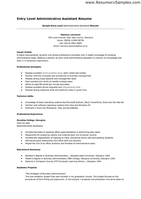 Entry Level Administrative Assistant Resume Include Career