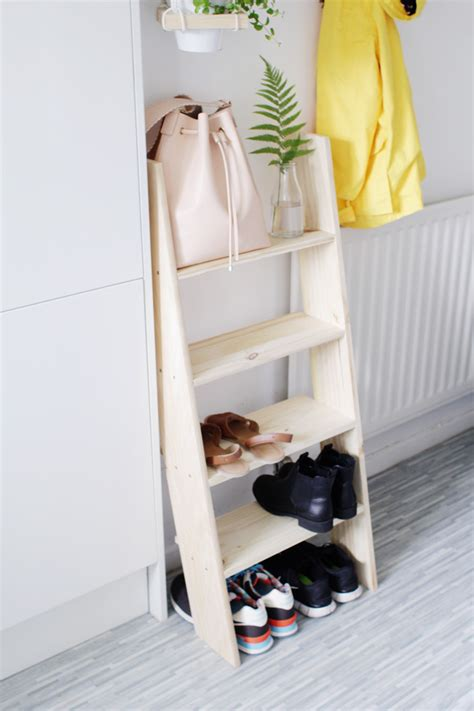 shoe shelves diy diy ladder shelf shoe storage design sponge