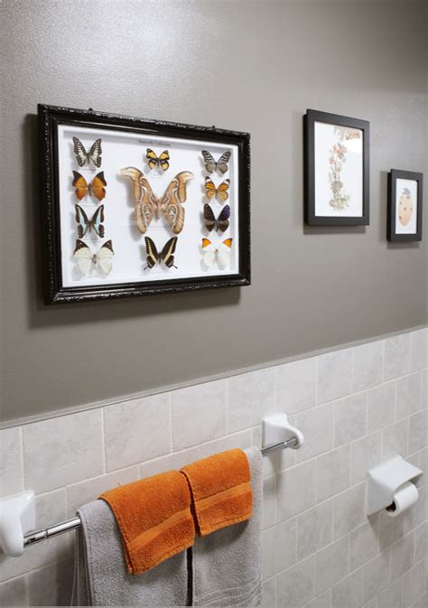 orange towels bathroom