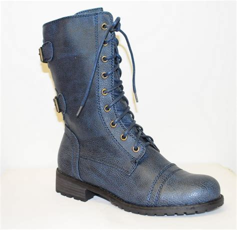 blue combat boots lace up blue combat boot timberly 02 ebay