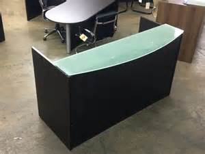 office furniture 4 sale espresso front reception desk with frosted glass counter