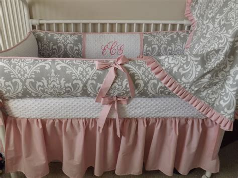 Pink And Gray Damask Baby Bedding Crib Set Deposit Down Crib Bedding Pink And Grey