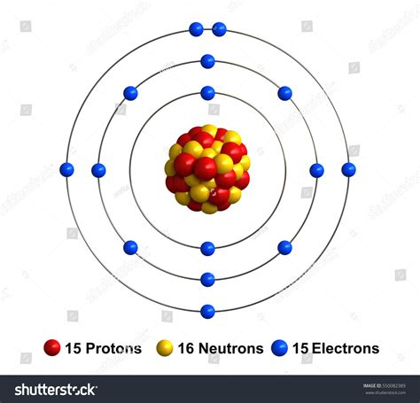 Phosphorus Protons Neutrons Electrons by 3d Render Atom Structure Phosphorus Isolated Stock