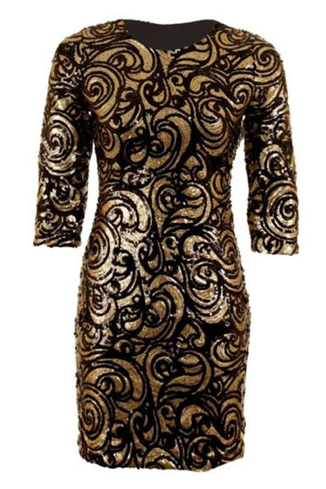 baroque pattern history ladies black gold sequin baroque pattern 190 sleeve bodycon