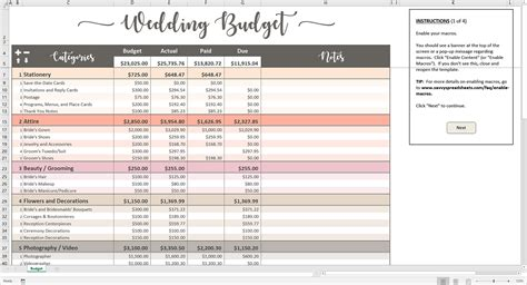 Wedding Budget by Printable Wedding Budget Excel Template Savvy Spreadsheets