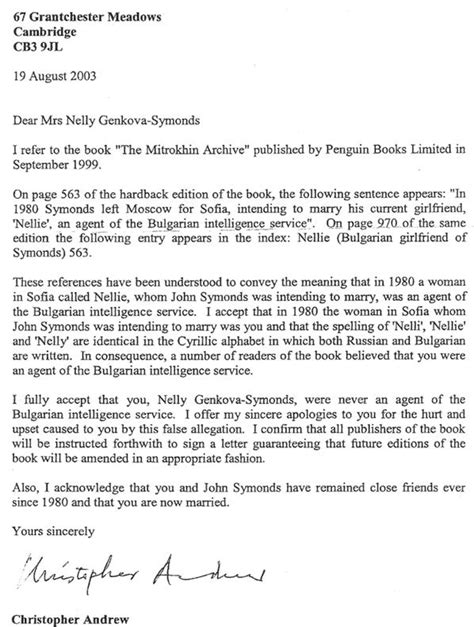 Apology Letter To Seeker Professor Christopher Andrew The Cambridge Parrot