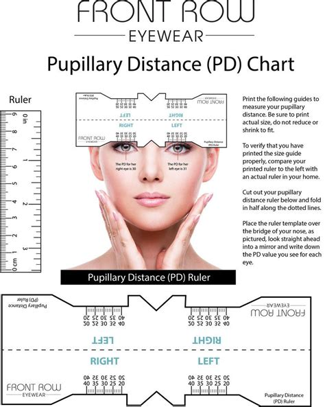 printable glasses ruler pupillary distance guide and a pd ruler front row eyewear