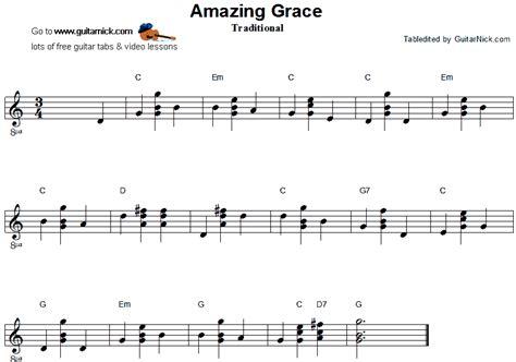 amazing grace testo italiano amazing grace chord melody guitar tab guitarnick