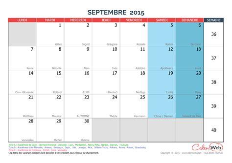 Calendrier à Imprimer Septembre 2015 Calendrier Mensuel Mois De Septembre 2015 Avec F 234 Tes