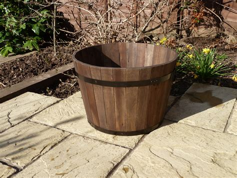Barrel Planter by Premium Wine Barrel Planter Large Simply Wood
