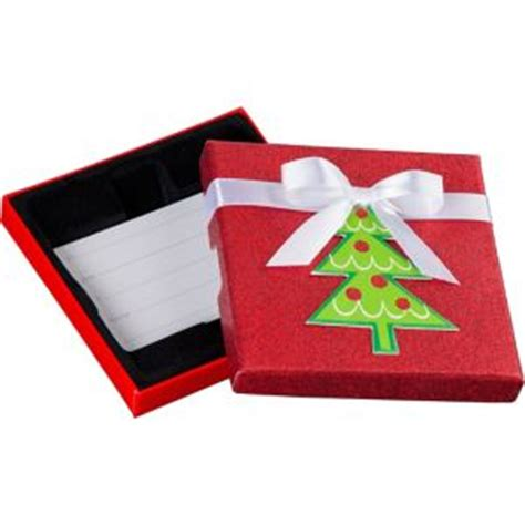 Christmas Gift Card Holder Box - glitter red christmas tree gift card holder box 4in x 4in party city