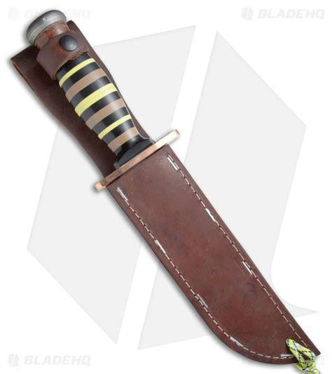 Ka Bar Bowie Fixed Blade Knife Stacked Leather Handle W Sheath 1236 1 ka bar limited edition ptk fixed blade knife stacked g 10 7 quot silver blade hq