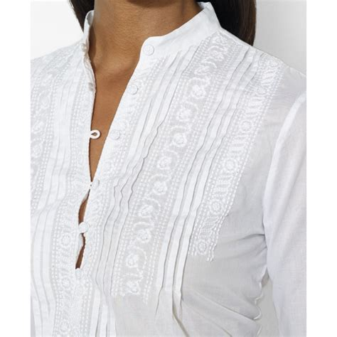 White Embroidered Blouse by Embroidered White Blouses Blue Denim Blouses