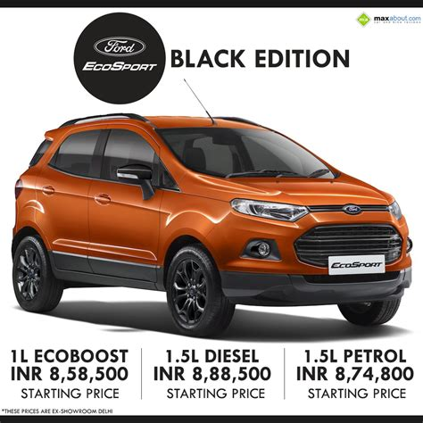price of ford ecosport diesel in india ford ecosport black edition launched in india