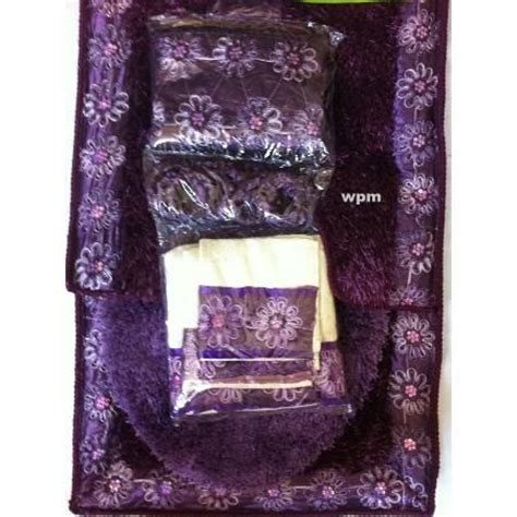 Bathroom Towels And Rugs Sets by Luxury Purple Shower Curtain 19pc Bathroom Rug Set