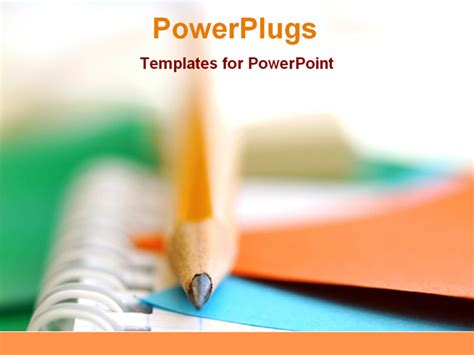 powerpoint template education pencil on a notebooks powerpoint template background of