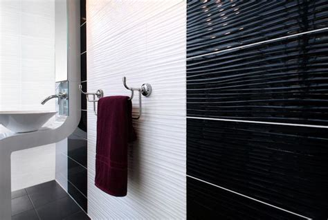 black gloss bathroom tiles form wave black white 24 8x49 8cm wall tiles by british
