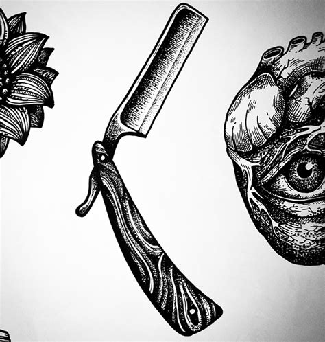 straight razor tattoo designs design razor on behance