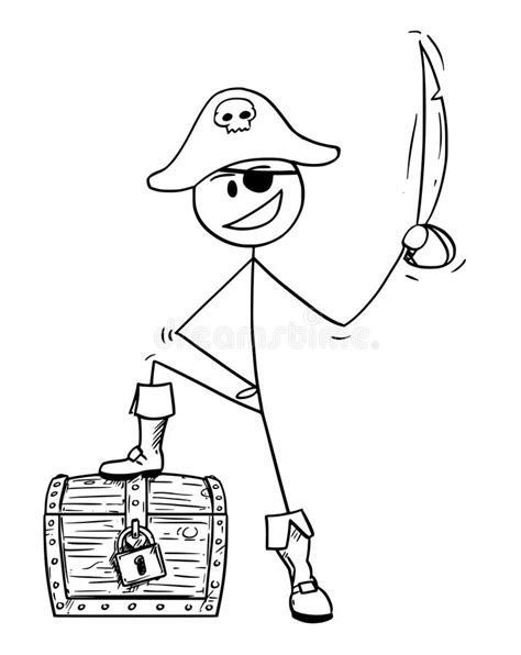 Pirata Dos Desenhos Animados Com Caixa De Tesouro