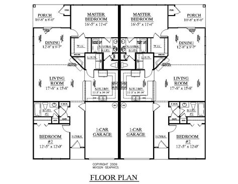 Duplex With Garage Plans by One Level Duplex Craftsman Style Floor Plans Duplex Plan