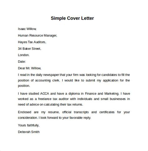 exle of a simple cover letter sle cover letter template 8 free documents