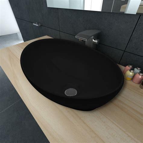 corian handwaschbecken keramik waschtisch waschbecken oval schwarz 40 x 33 cm