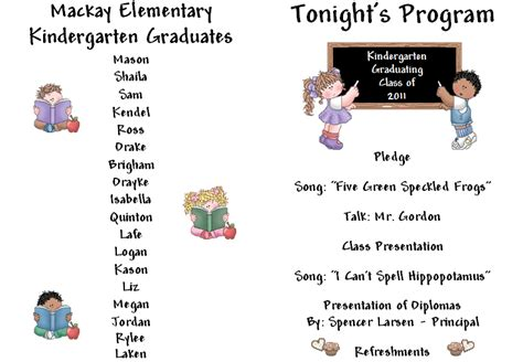 Preschool Graduation Program Template keeping focused kindergarten graduation
