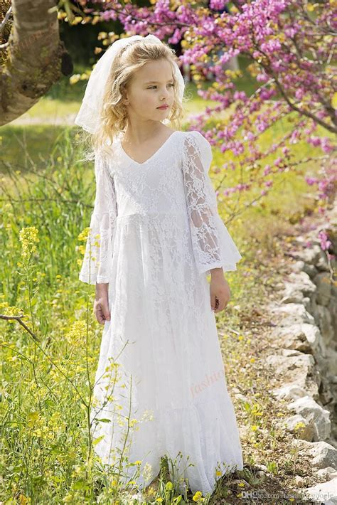 boho chic flower girl dresses  vintage long sleeves