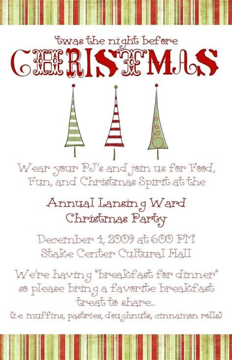 family christmas program ward invite ward relief
