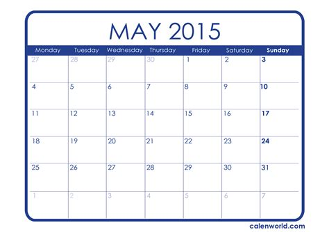Calendar May 2015 2015 Monthly Calendars Calendars