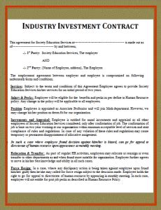 Simple Investment Contract Template Free Printable Documents Investment Contract Template Microsoft Word