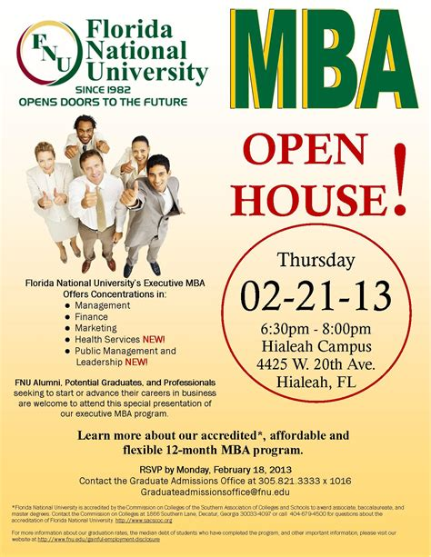 Mba Marketing Programs In Florida by Mba Open House Florida National Florida