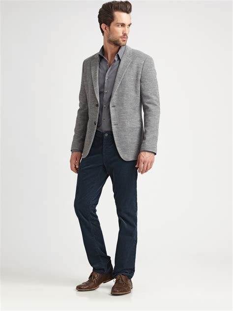 grey blazer theory knit blazer in gray for men lyst
