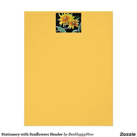 header design for letterhead stationery with sunflowers header stationery and sunflowers